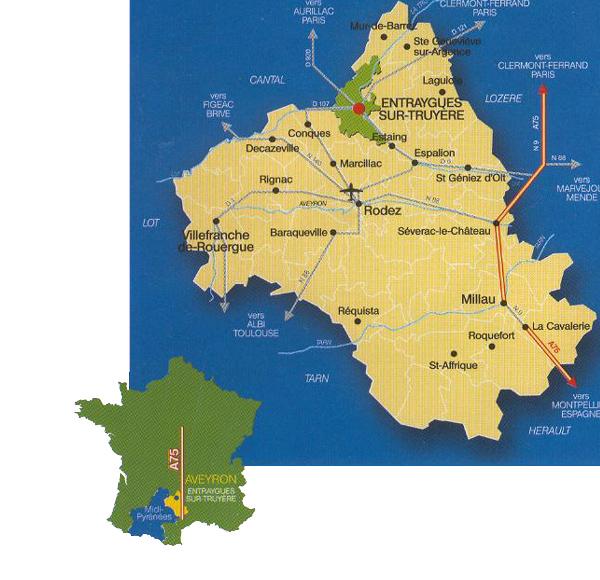 Entraygues-sur-Truyère par l'autoroute A75 ou l'aéroport de Rodez