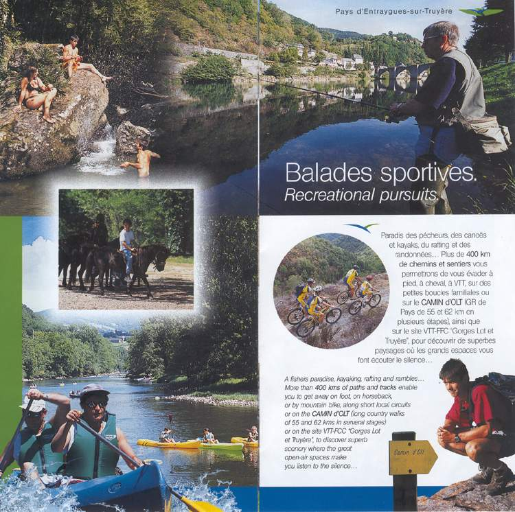 Recreational pursuits in the paths and tracks of Aveyron
