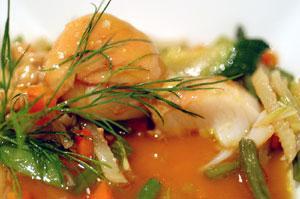 Recette de coquilles saint jacques � la sauce foie gras