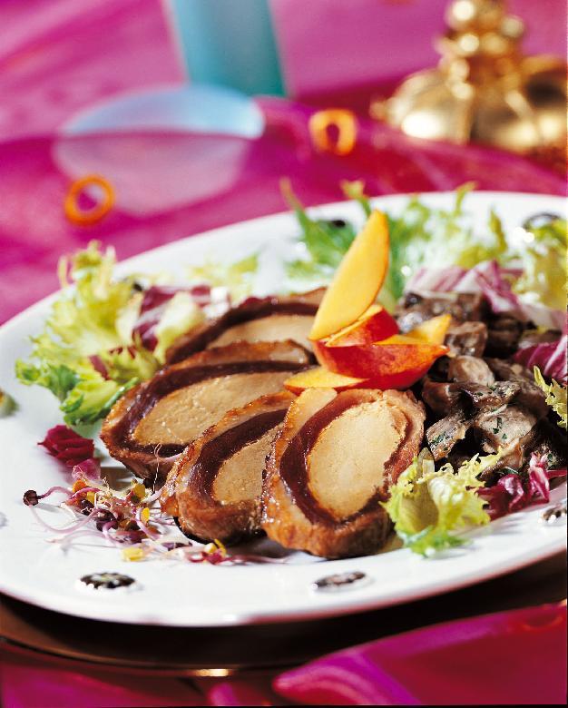 Recette du magret de canard au foie gras pommes groseilles