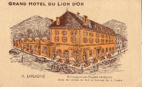 Hotel du lion d'or � Entraygues sur Truy�re<br>Relais des gorges du Tarn au barrage de la Truy�re
