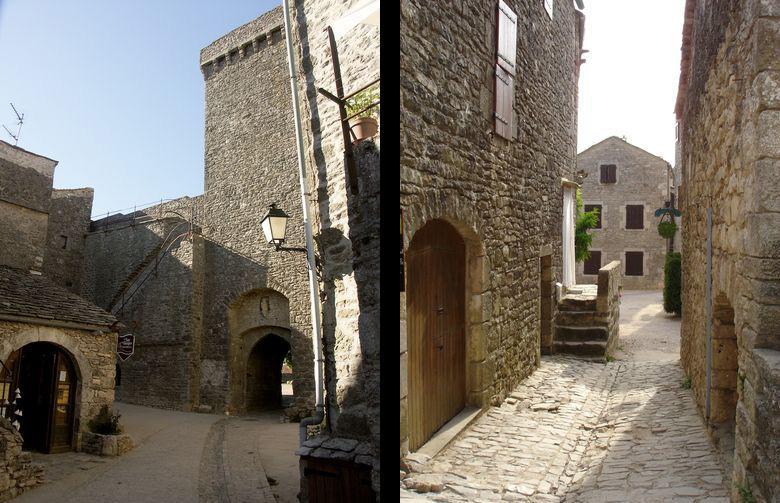 A gauche : Porte d'entrée, tour et son chemin de ronde<br>A droite : Les ruelles de la Couvertoirade