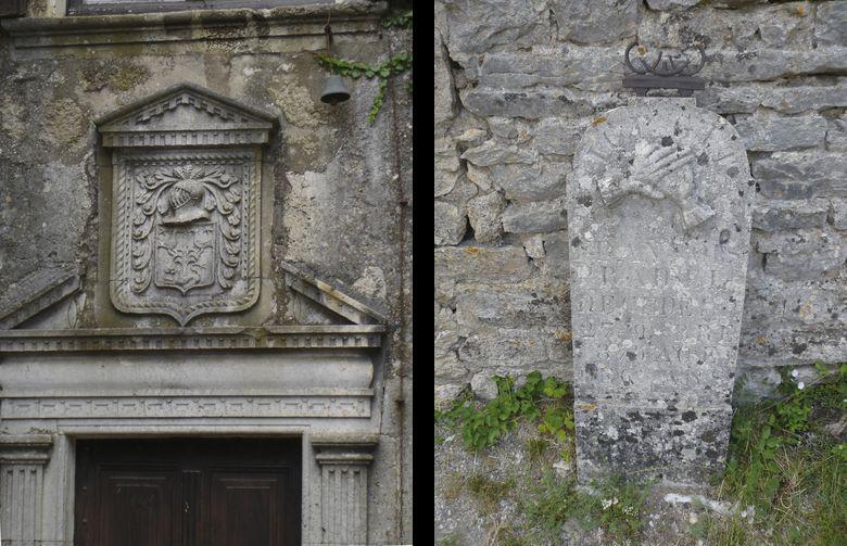 A gauche : Armoiries sur le fronton de la porte de la Maison des Grailhe de La Couvertoirade<br>A droite : Stèle du cimetière de la Couvertoirade (Aveyron) - tombe de Pradel François