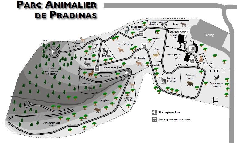 Plan du parc animalier de Pradinas. 5000 m2 de Mini ferme, Boutique, Aire de jeux, Snack, Aire de pique nique. <br>Situé entre Rodez et Villefranche (à 6kms de Rieupeyroux).