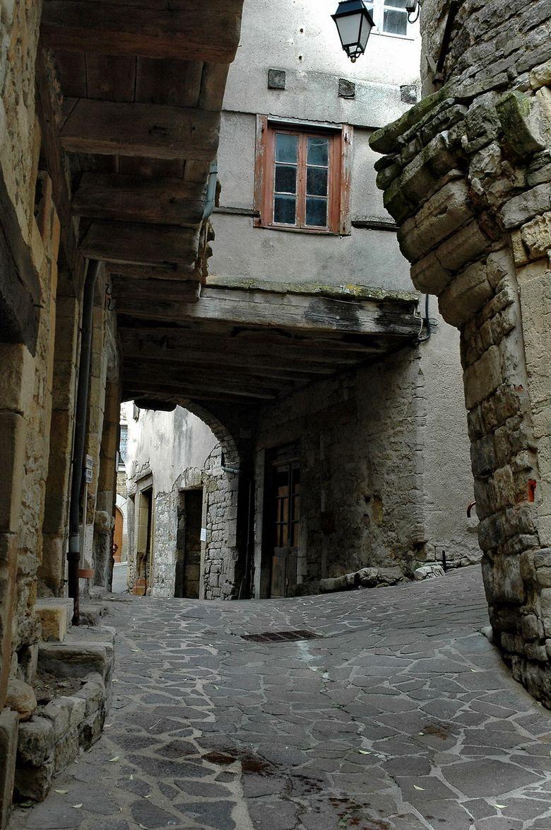 La cité médiévale abrite de belles demeures avec tours-escaliers, colombages et encorbellements. Parmi les bâtiments remarquables : la maison des Consuls, la maison de Jeanne, le Sestayral, la fontaine romane et l'église Saint-Sauveur.