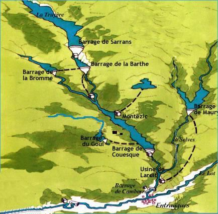Cartographie des barrages hydroélectrique de la Truyère - Aveyron