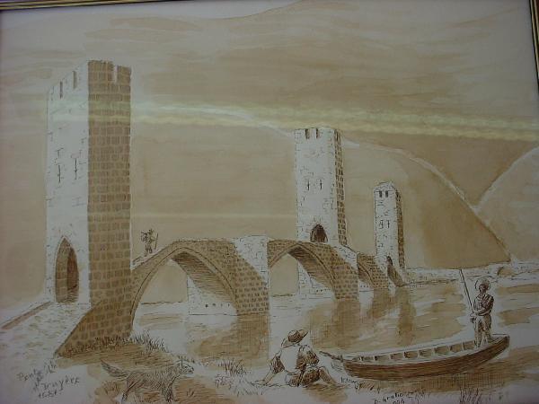 Le pont de la Truyère armé de 3 tours carrées - Bernard GRATIO
