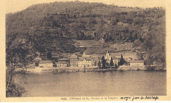 Hôpital de la Devèze, noyé par le barrage de Sarrans<br>Carte écrite le 16 juin 1934
