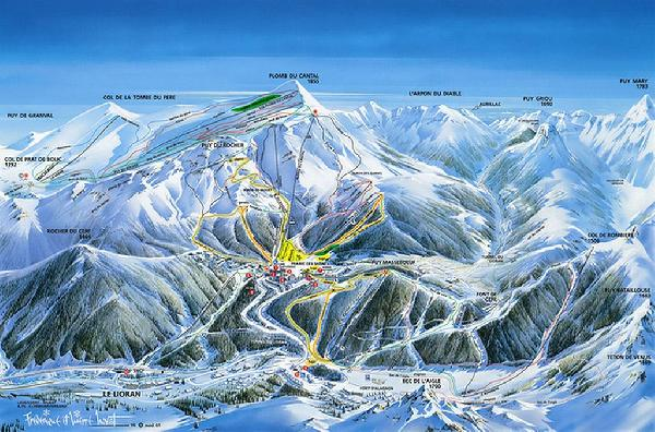 Le Lioran - Cantal - Auvergne - Plan des pistes de ski alpin