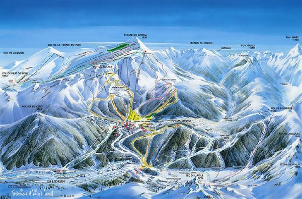 Le Lioran - Cantal - Auvergne - Plan des pistes de ski alpin