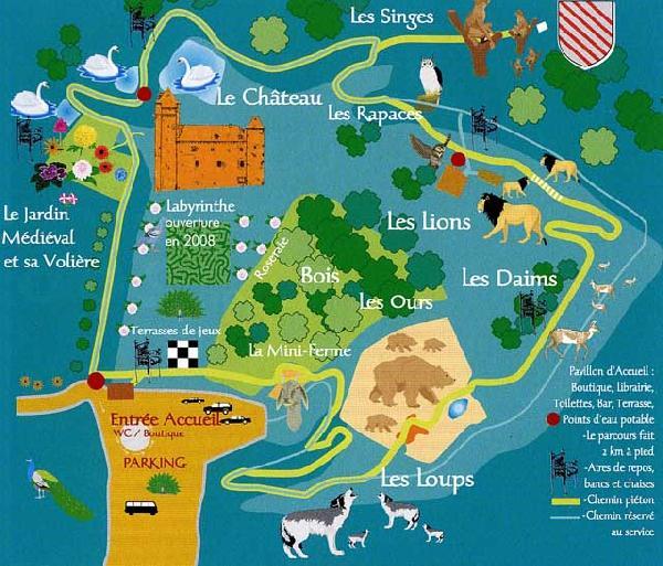 Plan du Parc du Colombier - Château - Jardin médiéval - Parc animalier - Aveyron - France